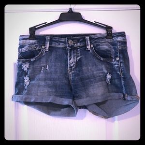Ripped jean shorts